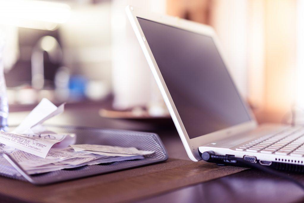 Grey Laptop Computer on a desk