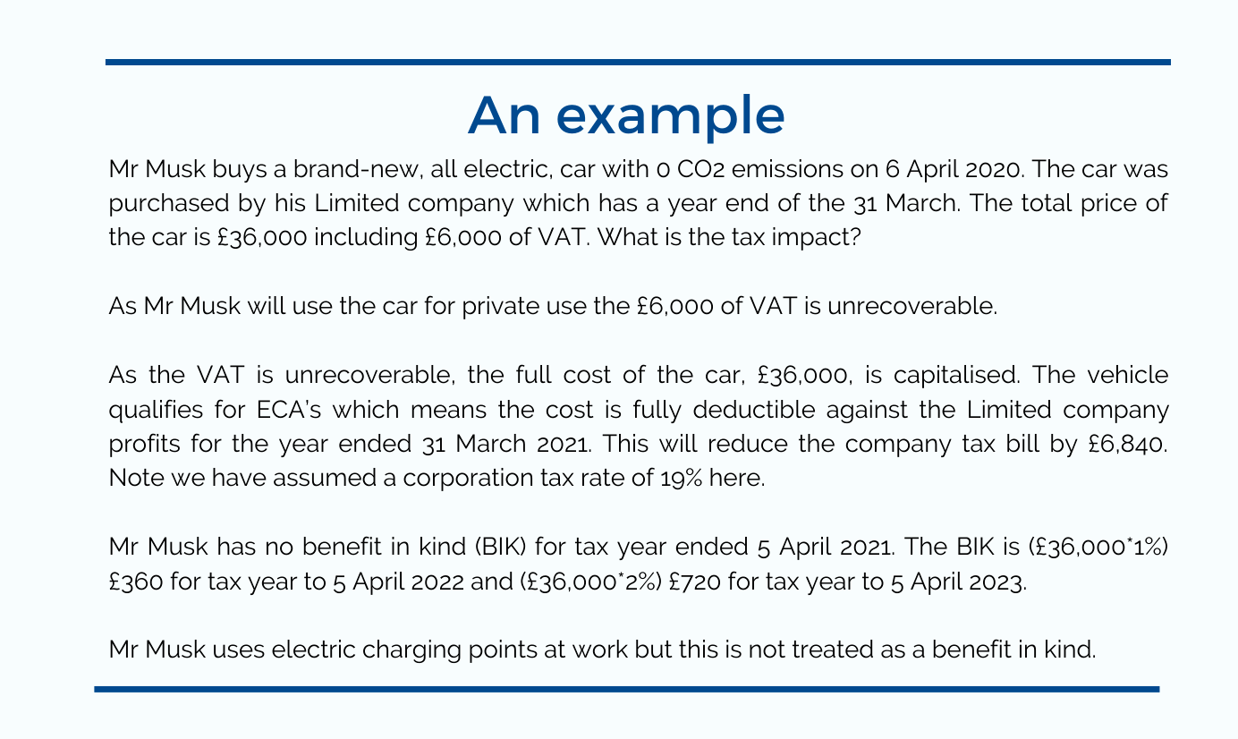 Tax on cars - example showing incentives